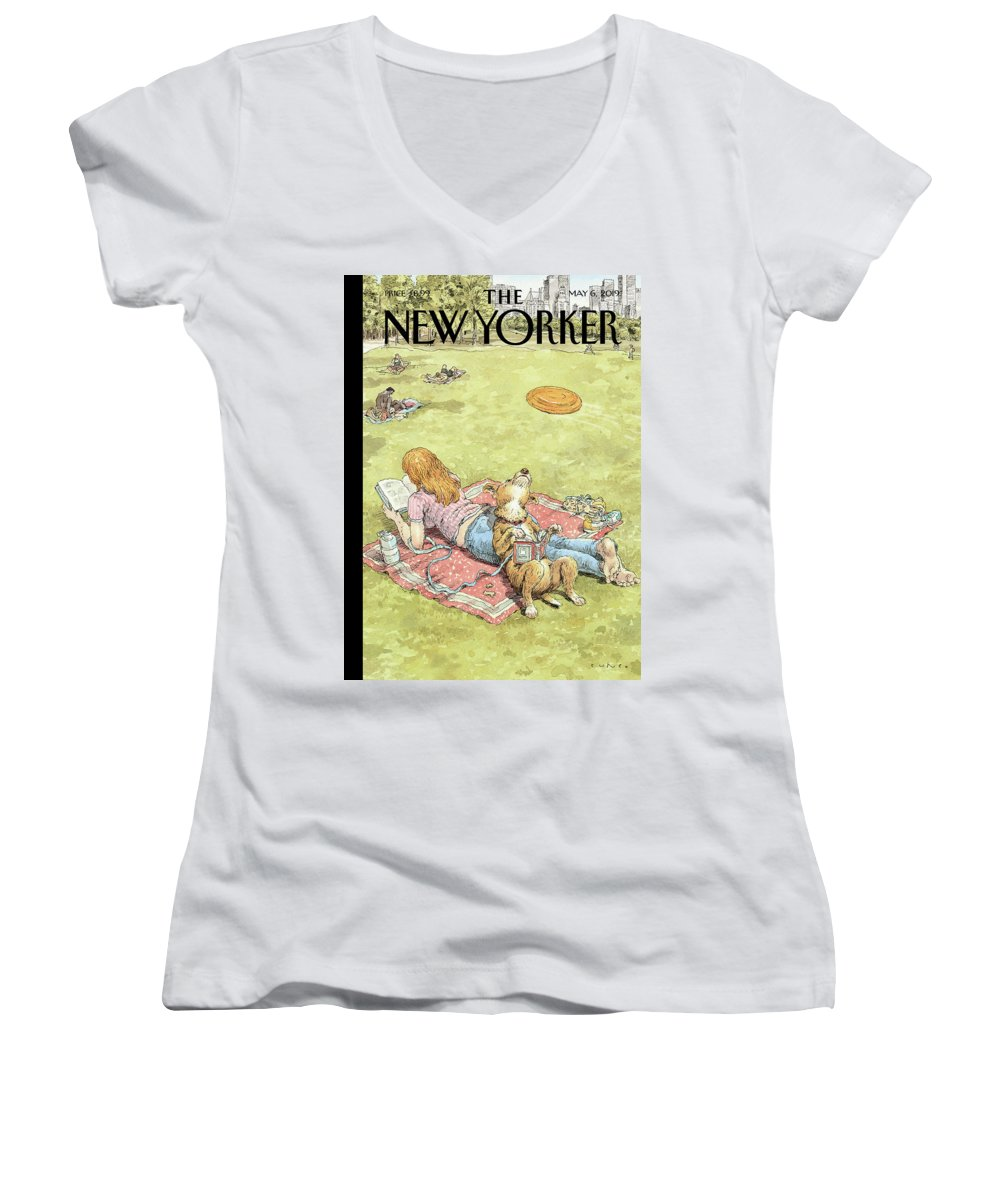 To Fetch Or Not To Fetch Women's V-Neck featuring the painting To Fetch Or Not To Fetch by John Cuneo