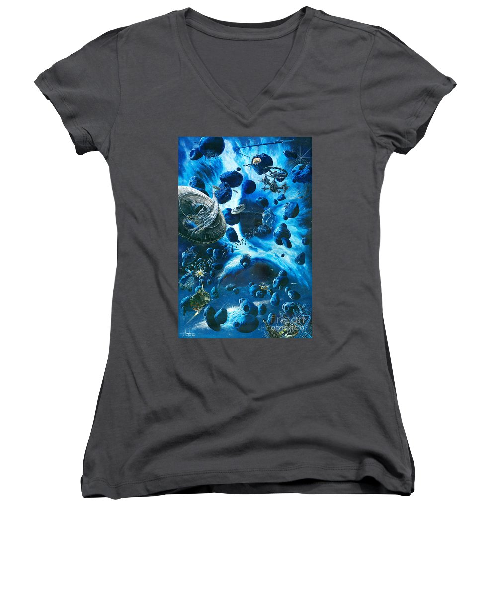 Asteroid Women's V-Neck T-Shirt featuring the painting Alien Pirates by Murphy Elliott