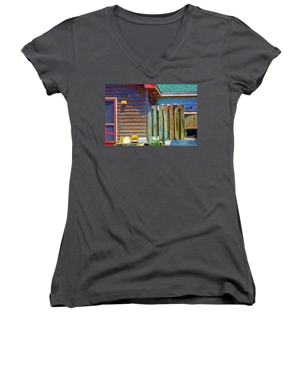 Building Women's V-Neck T-Shirt featuring the photograph Out To Dry by Debbi Granruth