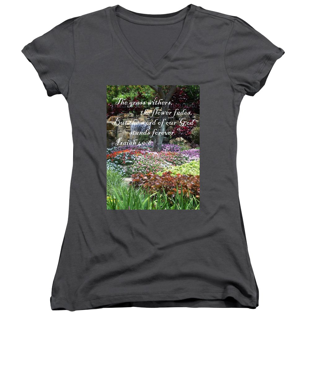 Inspirational Women's V-Neck T-Shirt featuring the photograph Stands Forever by Pharris Art