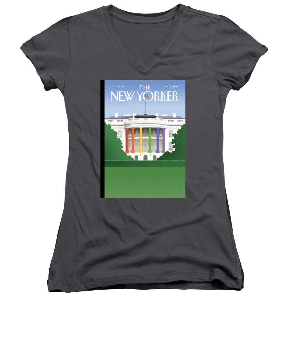 President Women's V-Neck featuring the painting Spectrum Of Light by Bob Staake