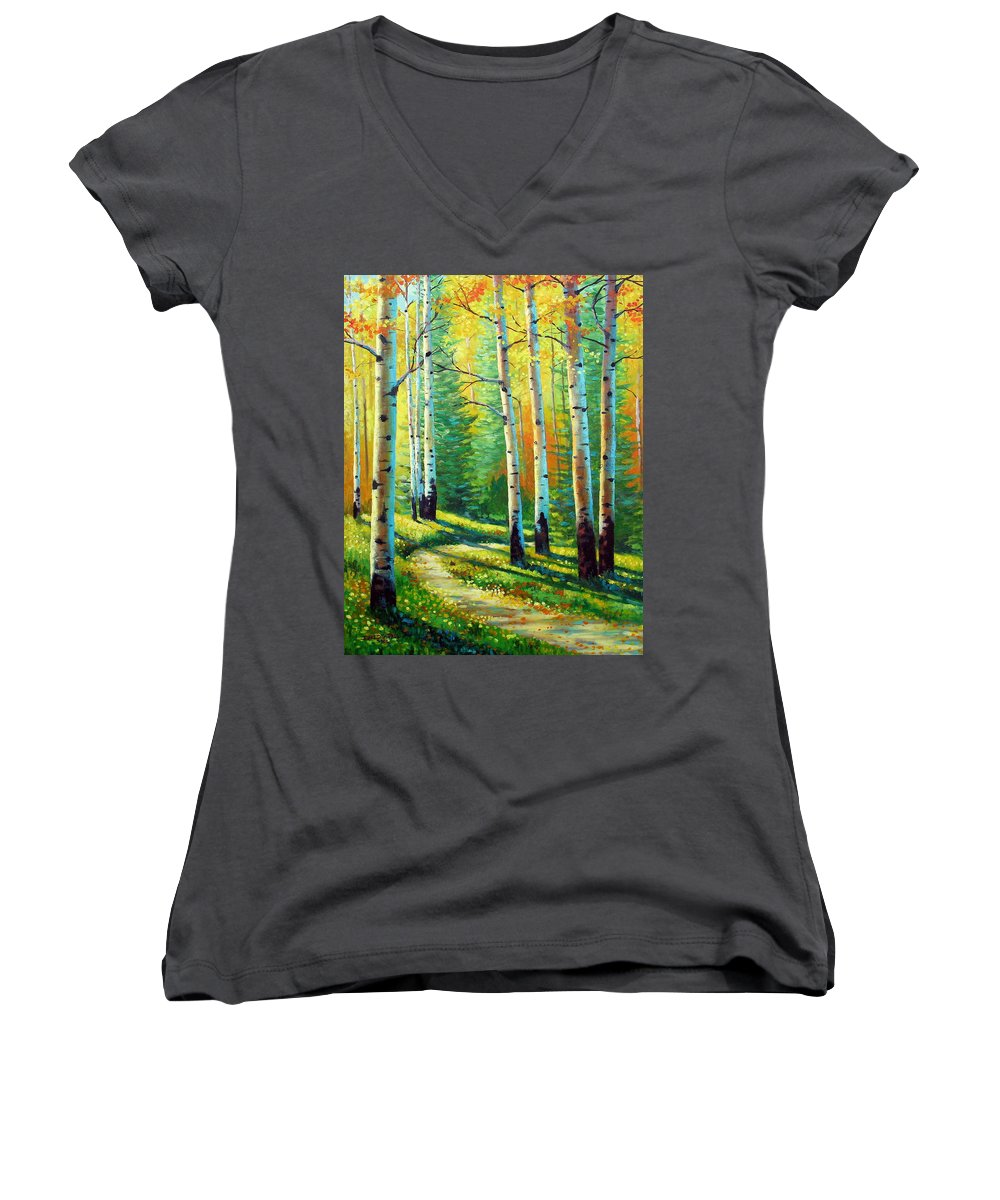 Landscape Women's V-Neck T-Shirt featuring the painting Colors Of The Season by David G Paul