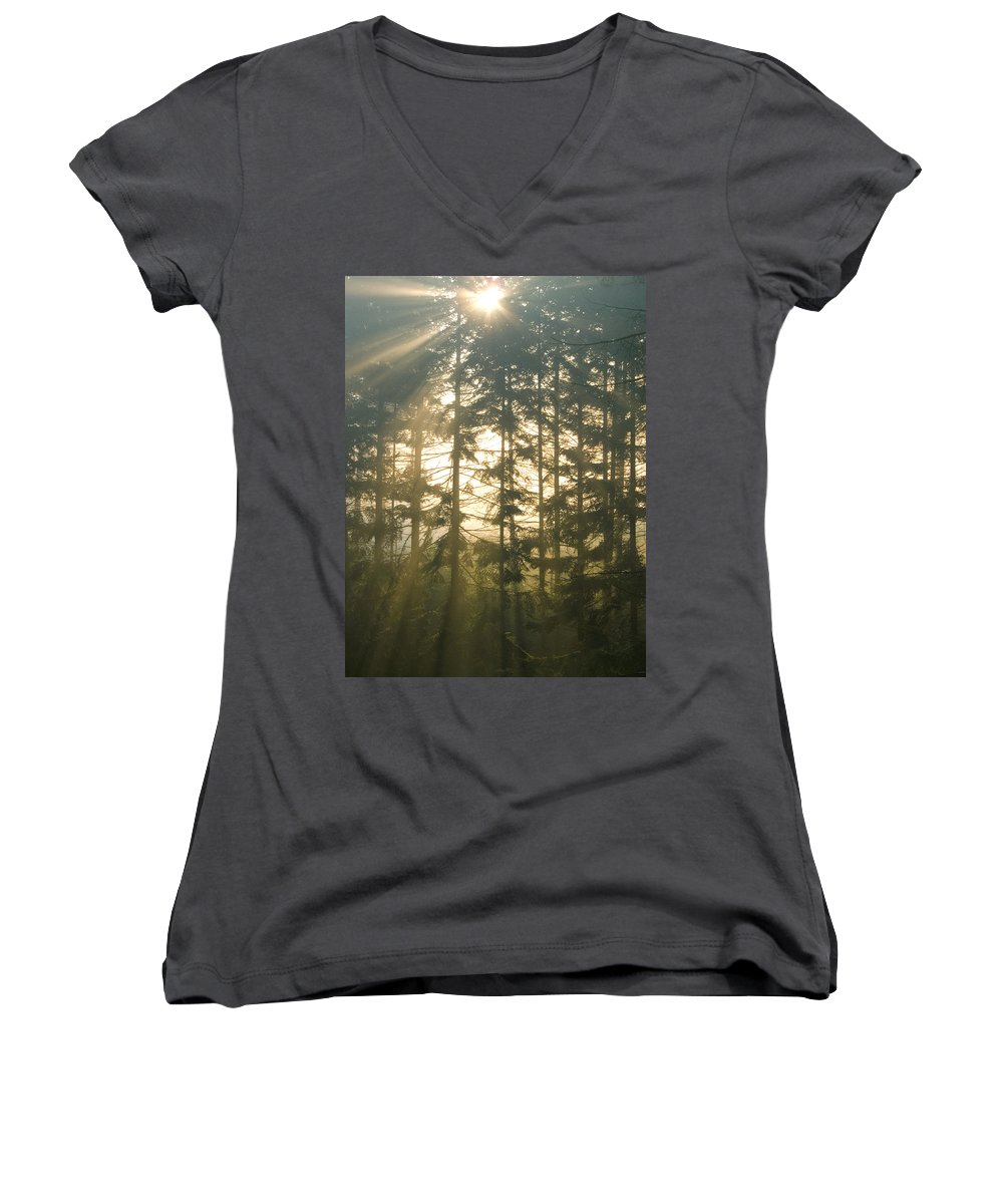 Nature Women's V-Neck T-Shirt featuring the photograph Light In The Forest by Daniel Csoka