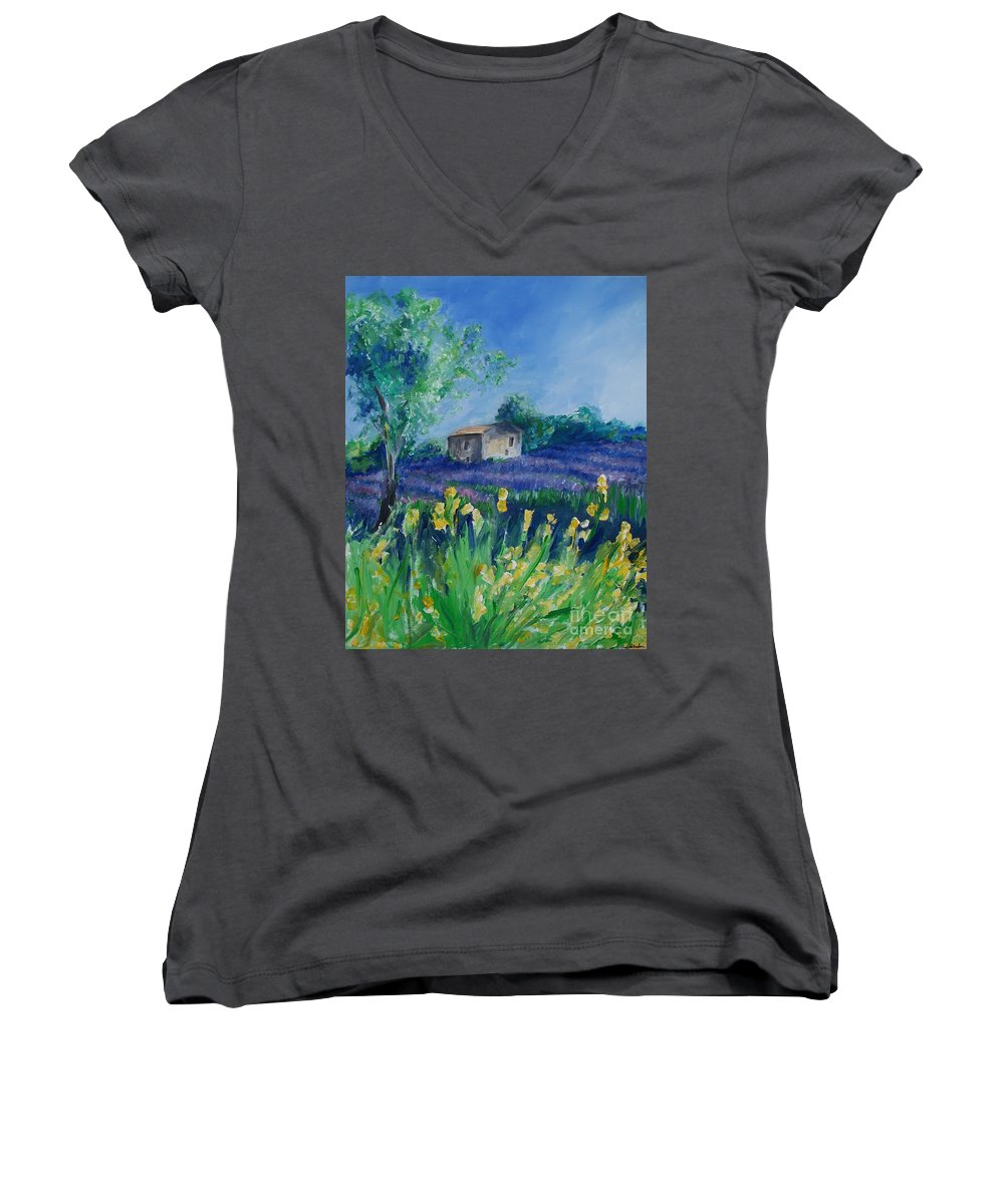 Provence Women's V-Neck T-Shirt featuring the painting Provence Lavender Field by Eric Schiabor