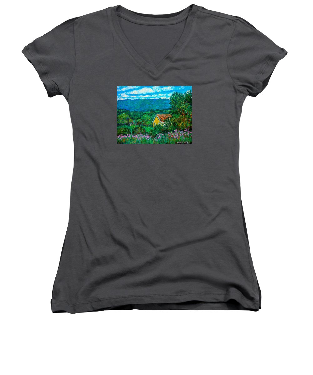 Landscape Women's V-Neck T-Shirt featuring the painting 460 by Kendall Kessler