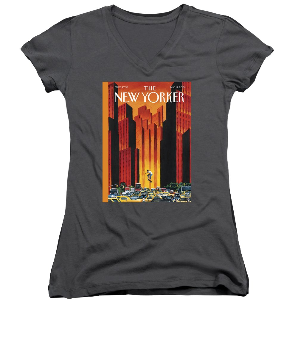 The Endless Summer Women's V-Neck featuring the painting The Endless Summer by Mark Ulriksen