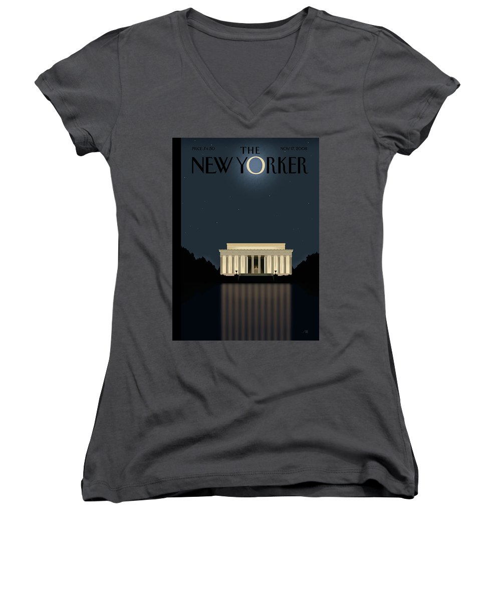Lincoln Women's V-Neck featuring the painting New Yorker November 17th, 2008 by Bob Staake