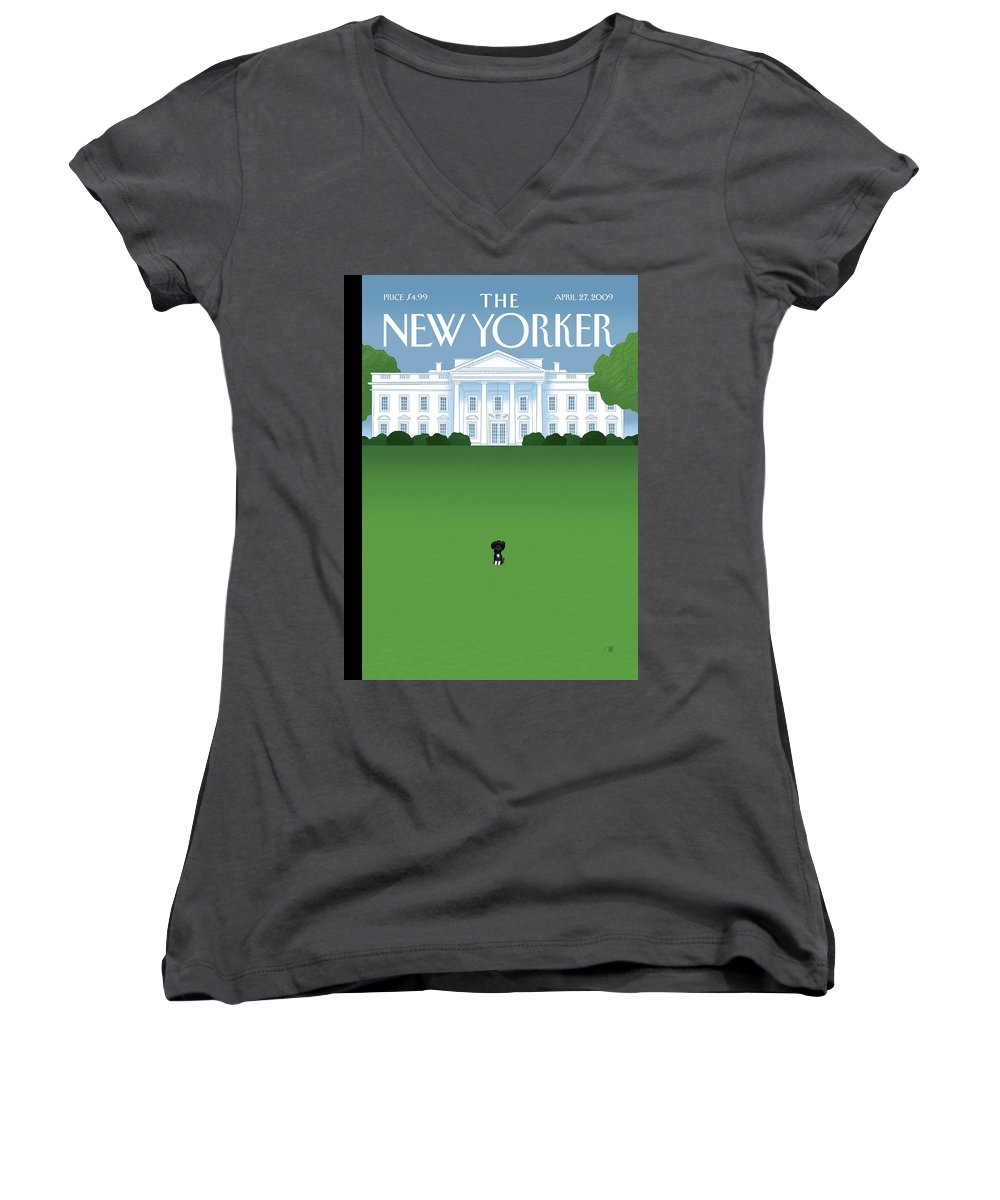 Obama Women's V-Neck featuring the painting New Yorker April 27th, 2009 by Bob Staake