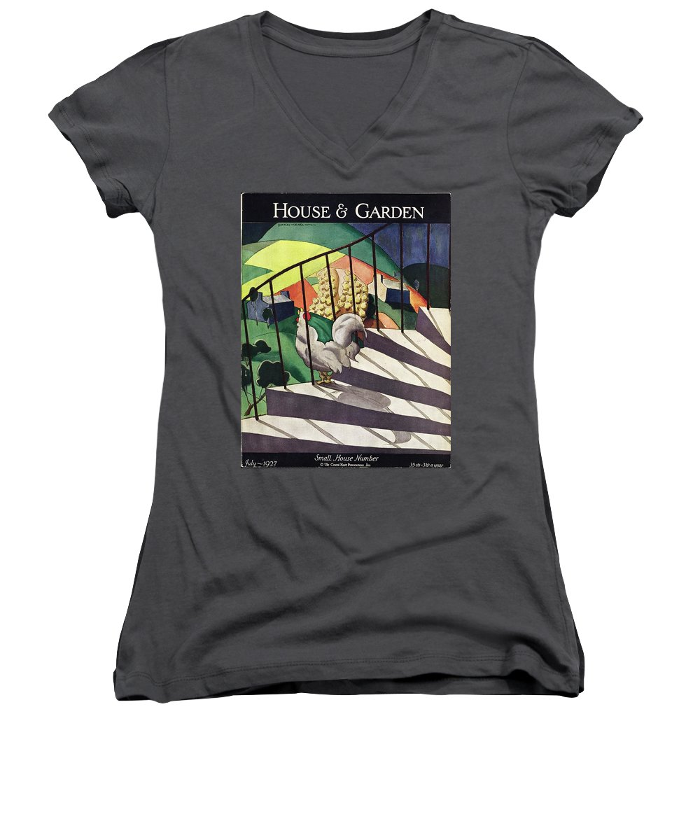 Illustration Women's V-Neck featuring the photograph A House And Garden Cover Of A Rooster by Bradley Walker Tomlin