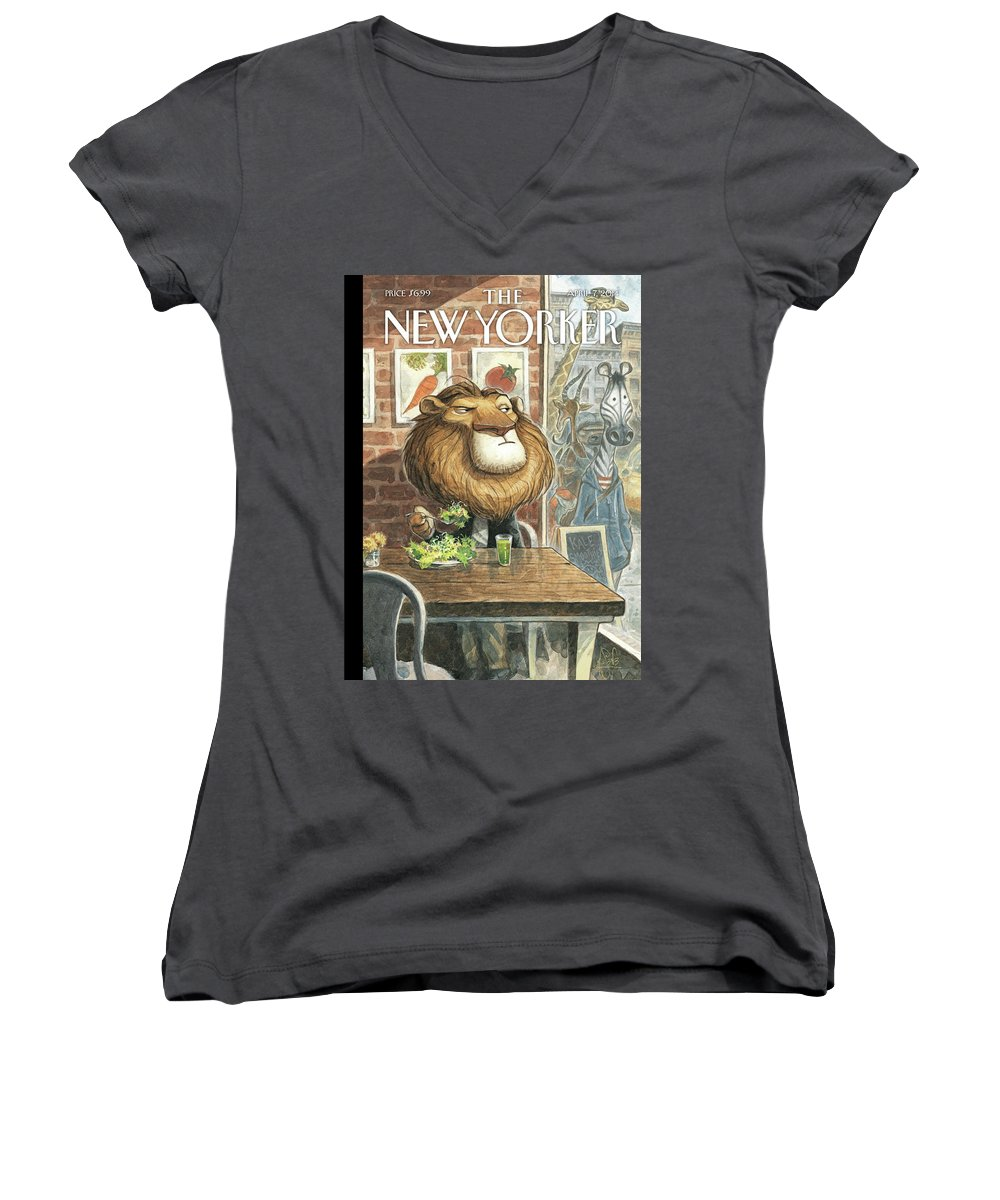 Restaurant Women's V-Neck featuring the painting A New Leaf by Peter de Seve
