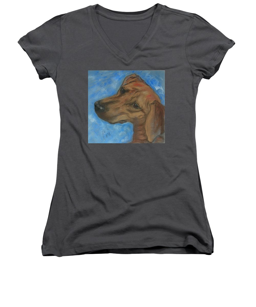Pastel Women's V-Neck (Athletic Fit) featuring the drawing A Twist Of Might by Cori Solomon