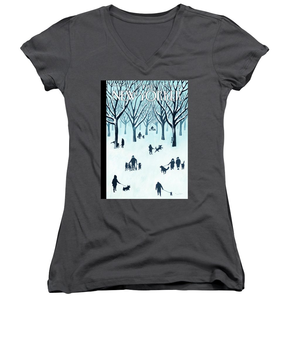 Snow Women's V-Neck featuring the painting A Walk In The Snow by Mark Ulriksen