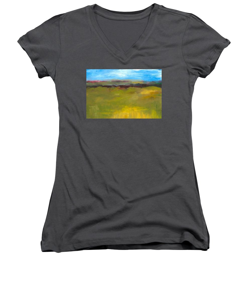 Abstract Expressionism Women's V-Neck (Athletic Fit) featuring the painting Abstract Landscape - The Highway Series by Michelle Calkins