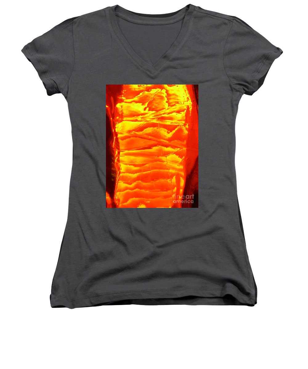 Orange Women's V-Neck T-Shirt featuring the photograph Abstract Orange by Amanda Barcon