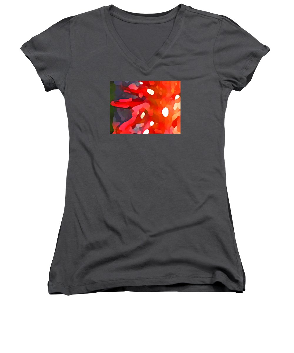 Bold Women's V-Neck (Athletic Fit) featuring the painting Abstract Red Sun by Amy Vangsgard