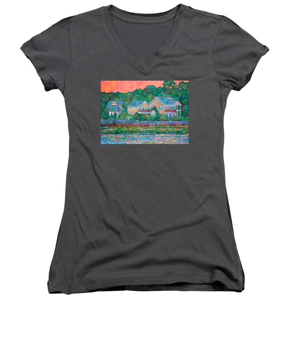 Landscape Women's V-Neck T-Shirt featuring the painting Across The Marsh At Pawleys Island    by Kendall Kessler