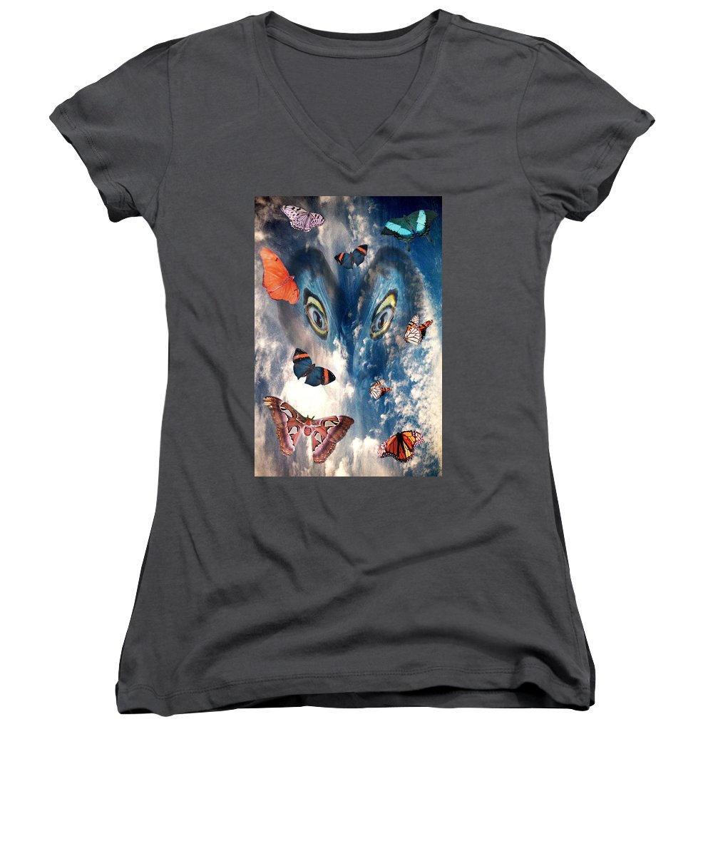 Air Women's V-Neck T-Shirt featuring the digital art Air by Lisa Yount