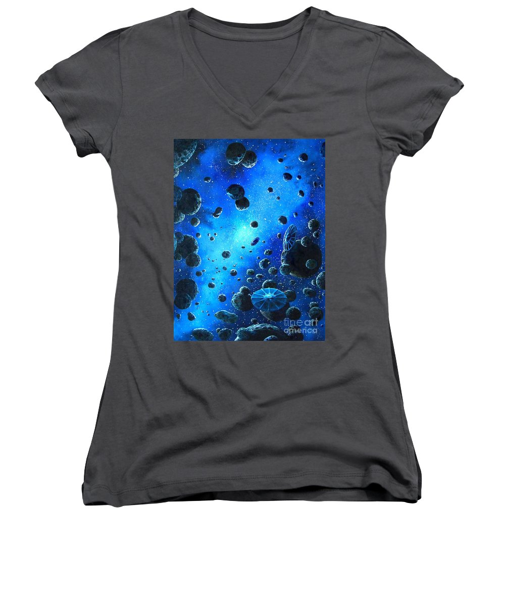 (space Ships) Women's V-Neck (Athletic Fit) featuring the painting Alien Flying Saucers by Murphy Elliott