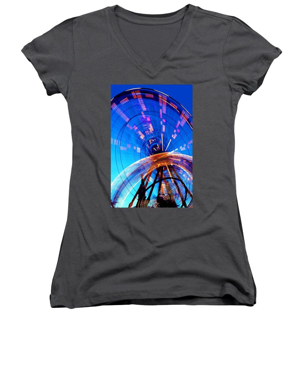 Amusement Park Women's V-Neck T-Shirt featuring the photograph Amusement Park Rides 1 by Steve Ohlsen
