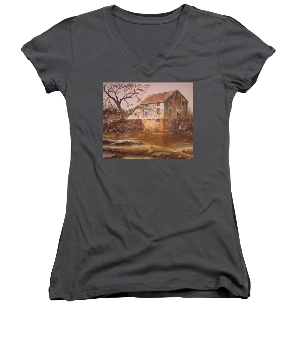 Landscape Women's V-Neck (Athletic Fit) featuring the painting Anderson Mill by Ben Kiger