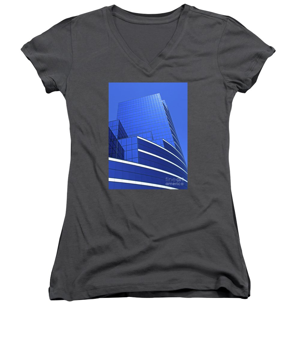 Architecture Women's V-Neck (Athletic Fit) featuring the photograph Architectural Blues by Ann Horn