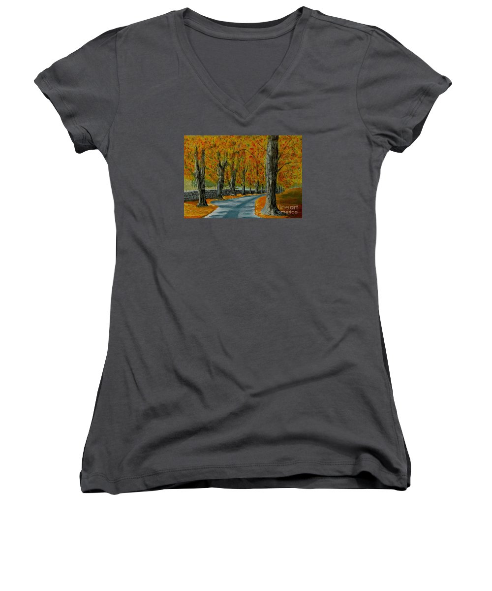 Autumn Women's V-Neck (Athletic Fit) featuring the painting Autumn Pathway by Anthony Dunphy