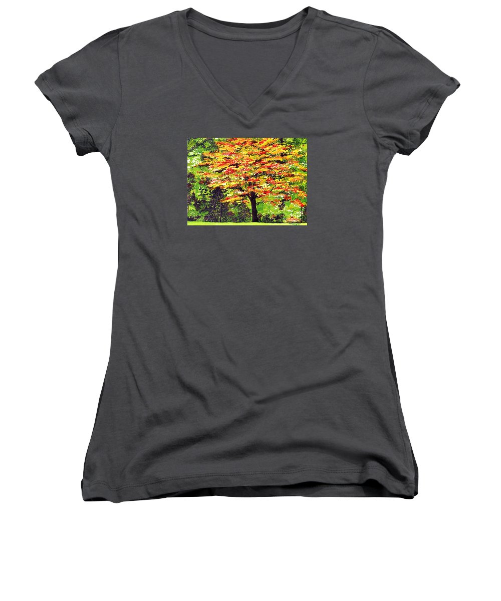 Fine Art Women's V-Neck T-Shirt featuring the painting Autumn Splendor by Patricia Griffin Brett