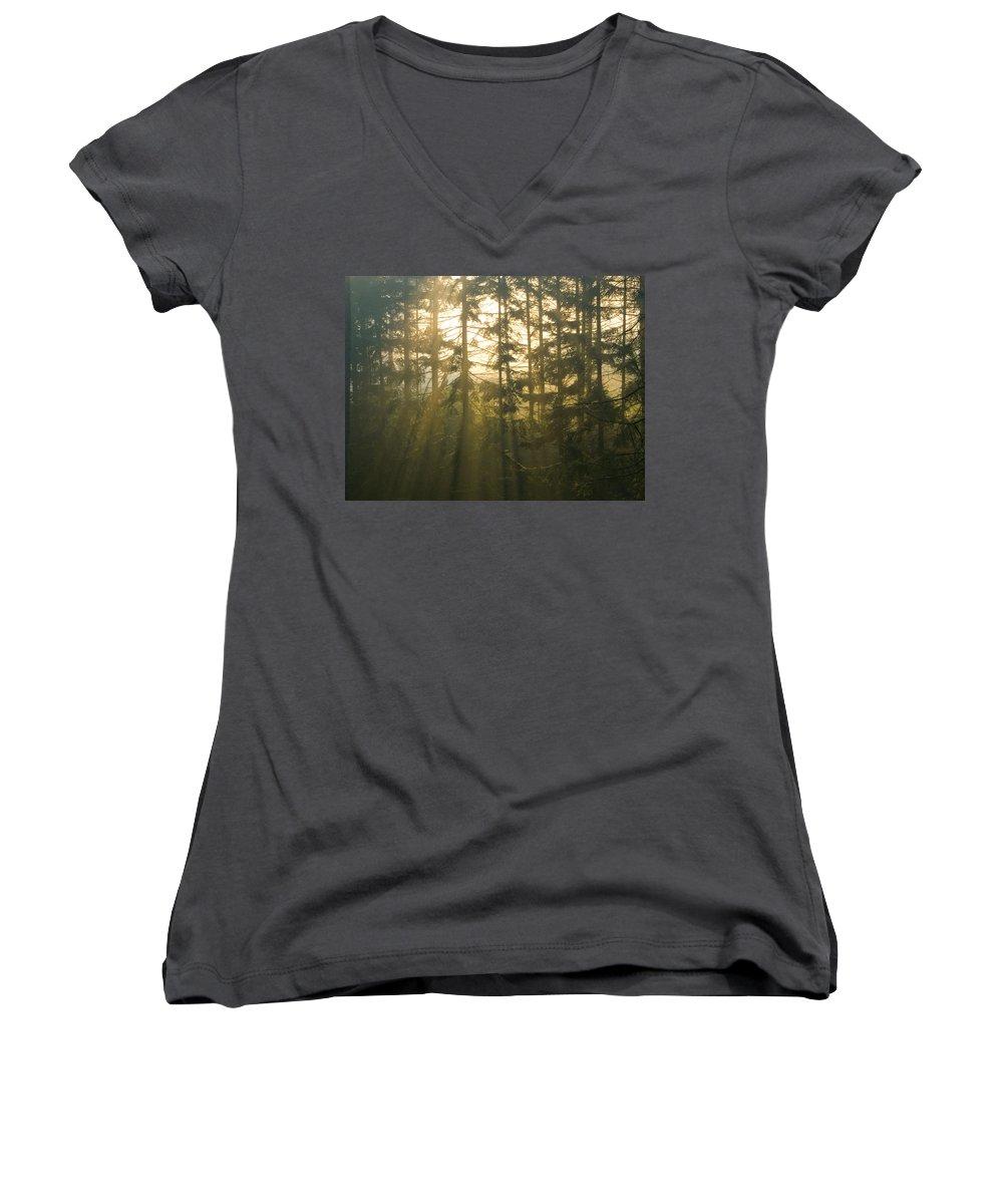 Light Women's V-Neck T-Shirt featuring the photograph Awe by Daniel Csoka