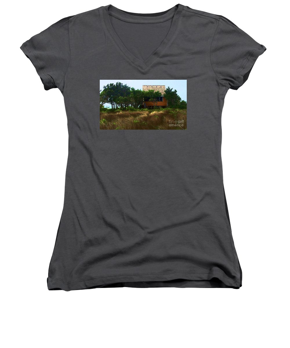 Beach Women's V-Neck T-Shirt featuring the photograph Back To The Island by Debbi Granruth