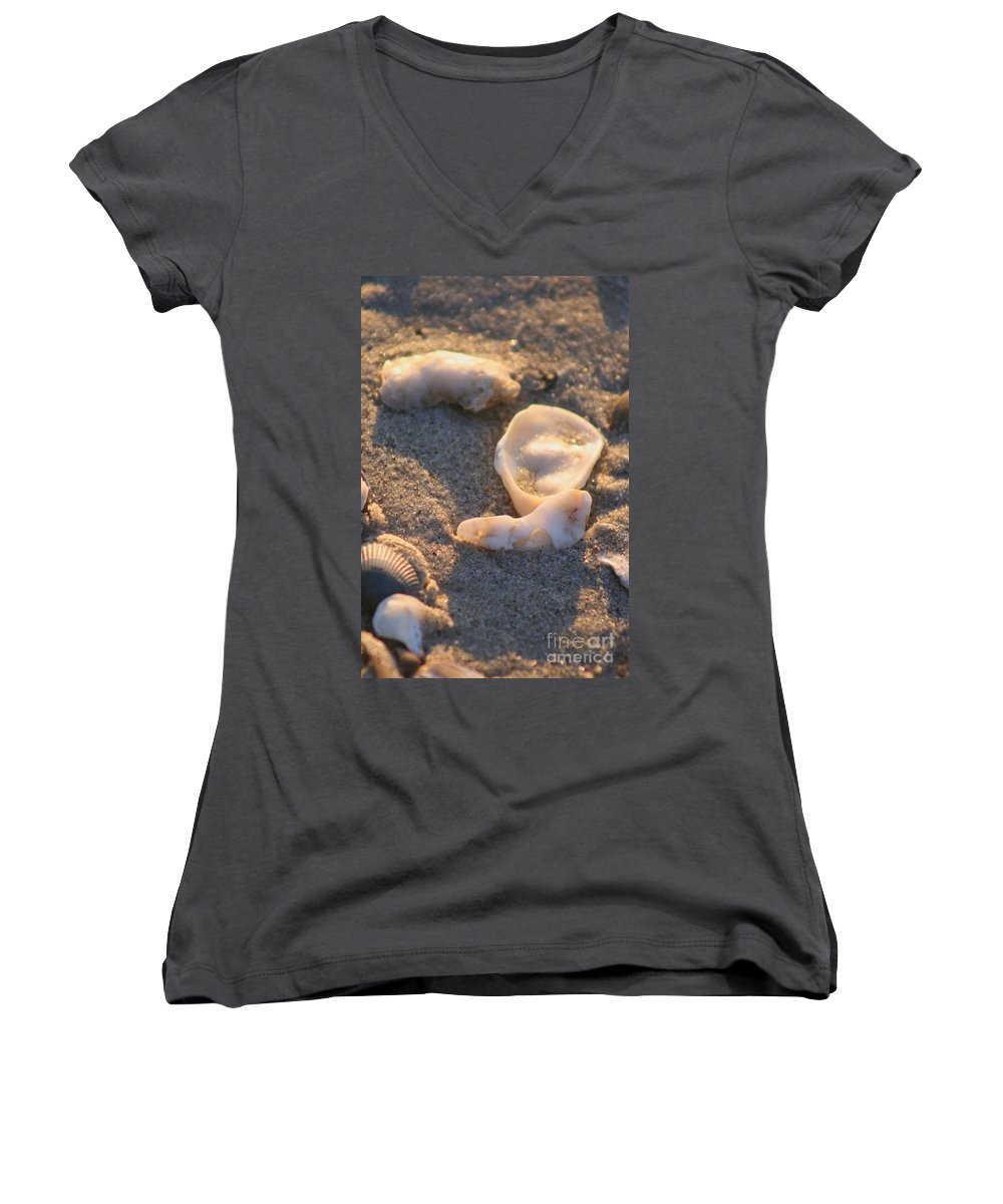 Shells Women's V-Neck (Athletic Fit) featuring the photograph Bald Head Island Shells by Nadine Rippelmeyer