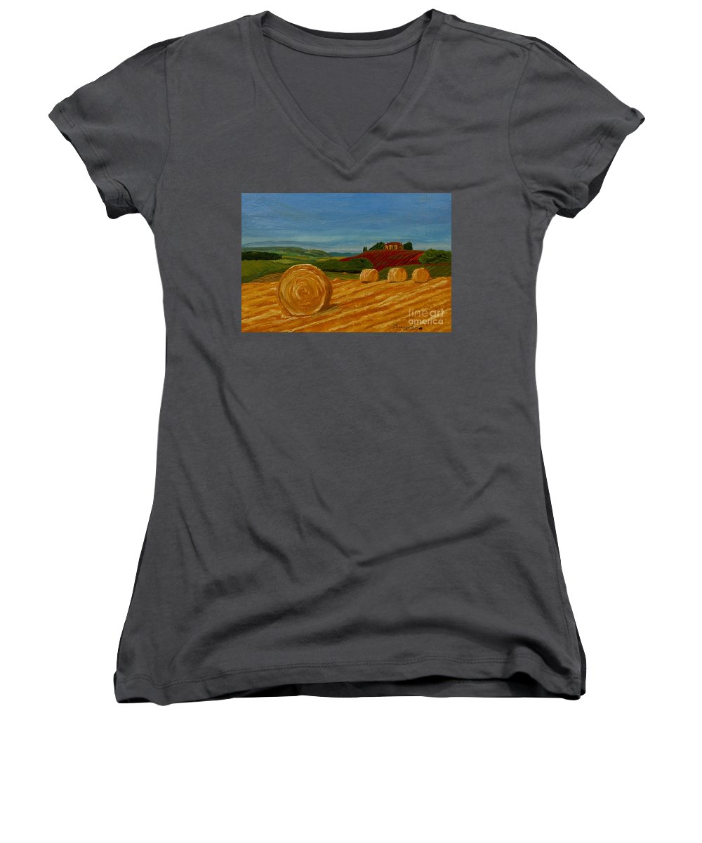 Hay Women's V-Neck T-Shirt featuring the painting Field Of Golden Hay by Anthony Dunphy