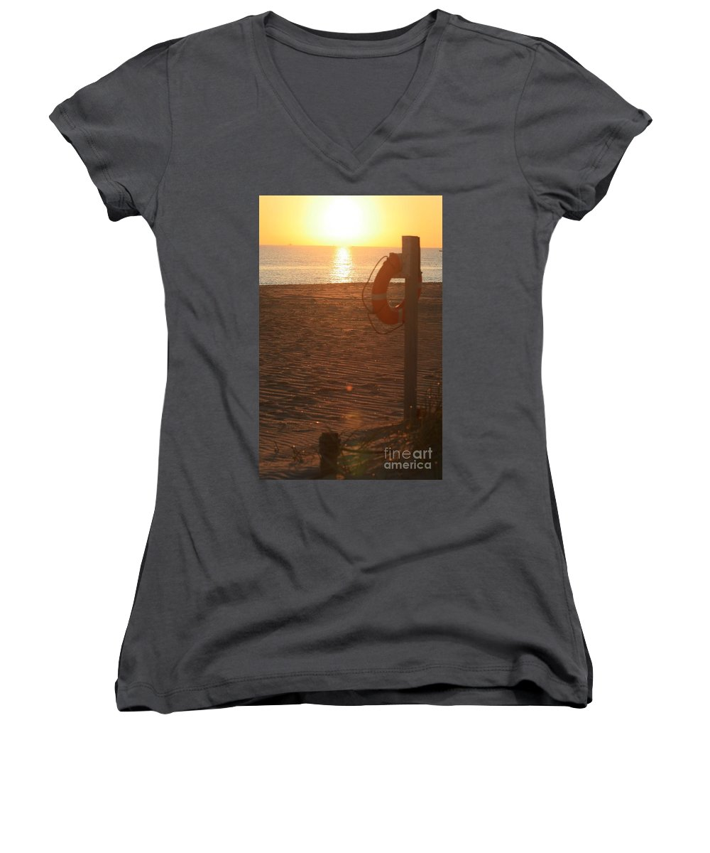 Beach Women's V-Neck (Athletic Fit) featuring the photograph Beach At Sunset by Nadine Rippelmeyer