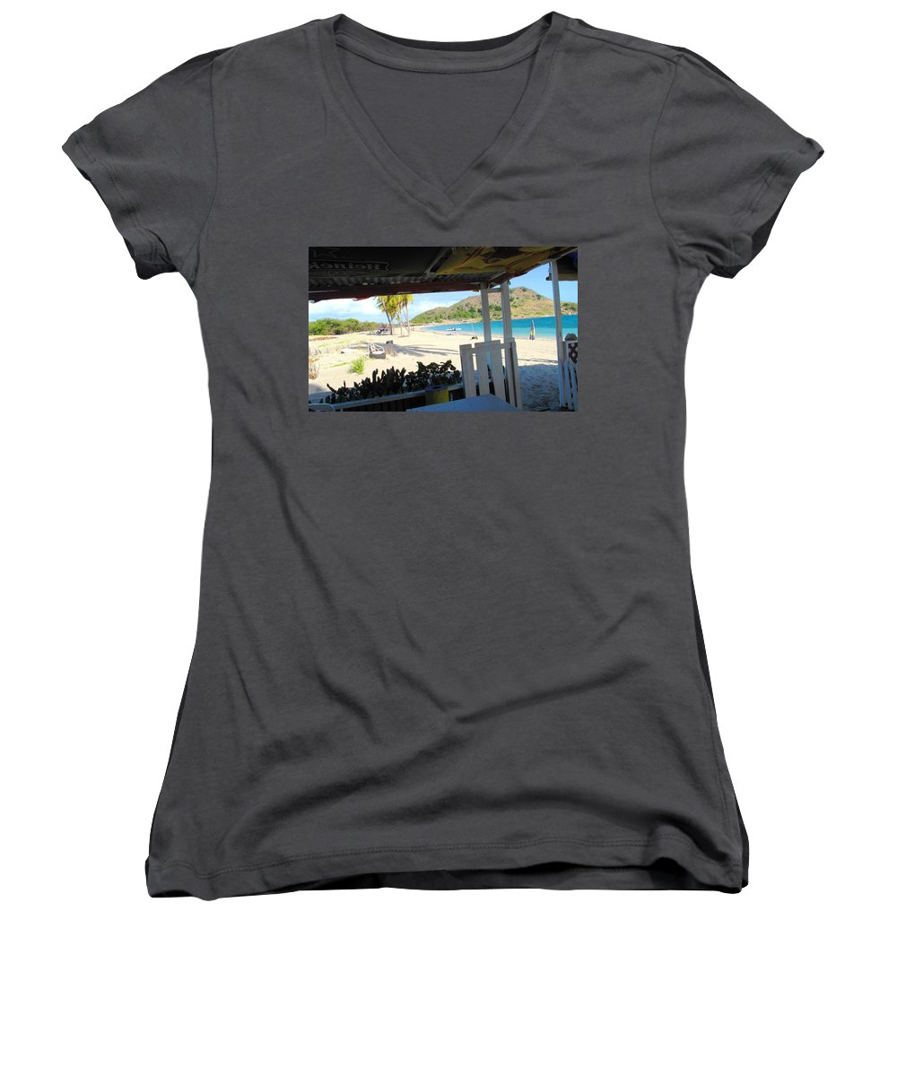 St Kitts Women's V-Neck T-Shirt featuring the photograph Beach Bar In January by Ian MacDonald