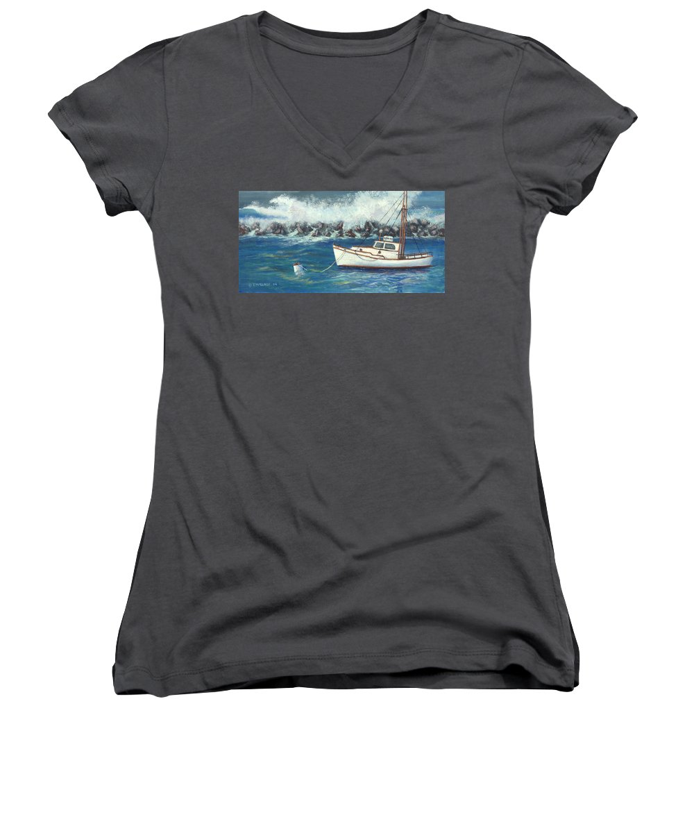 Ocean Women's V-Neck (Athletic Fit) featuring the painting Behind The Breakwall by Jerry McElroy