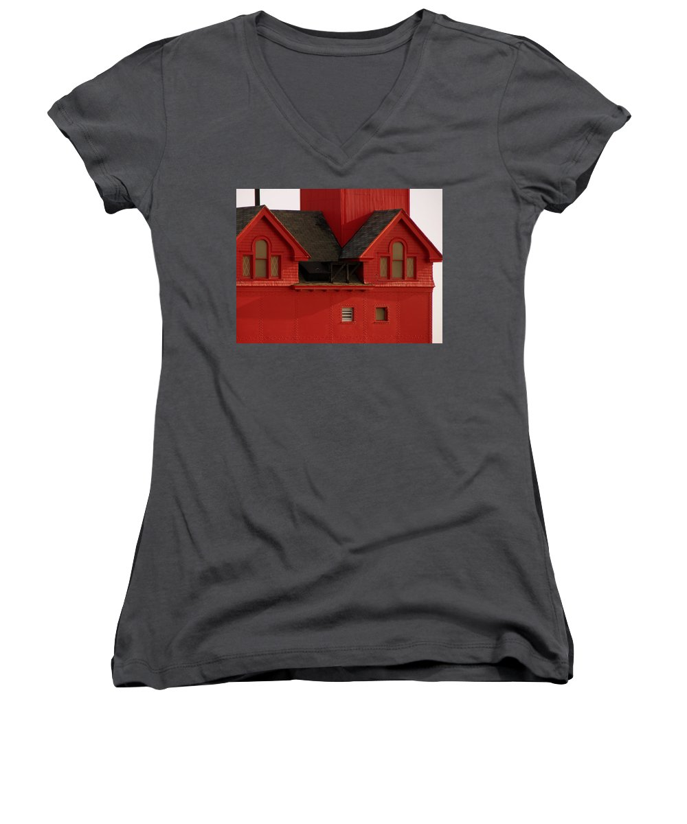 Windows Women's V-Neck T-Shirt featuring the photograph Big Red Holland Harbor Light Michigan by Michelle Calkins