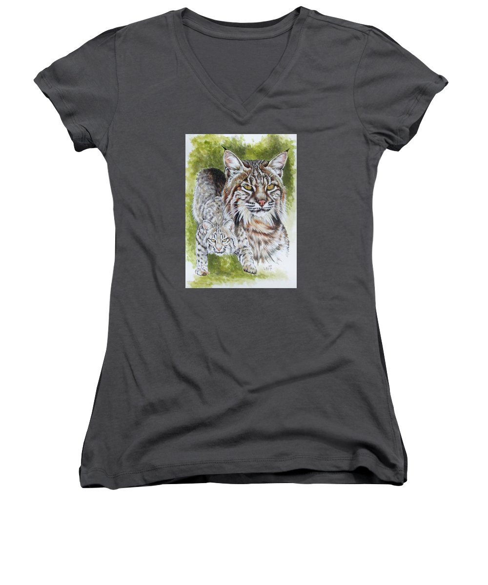 Small Cat Women's V-Neck T-Shirt featuring the mixed media Brassy by Barbara Keith