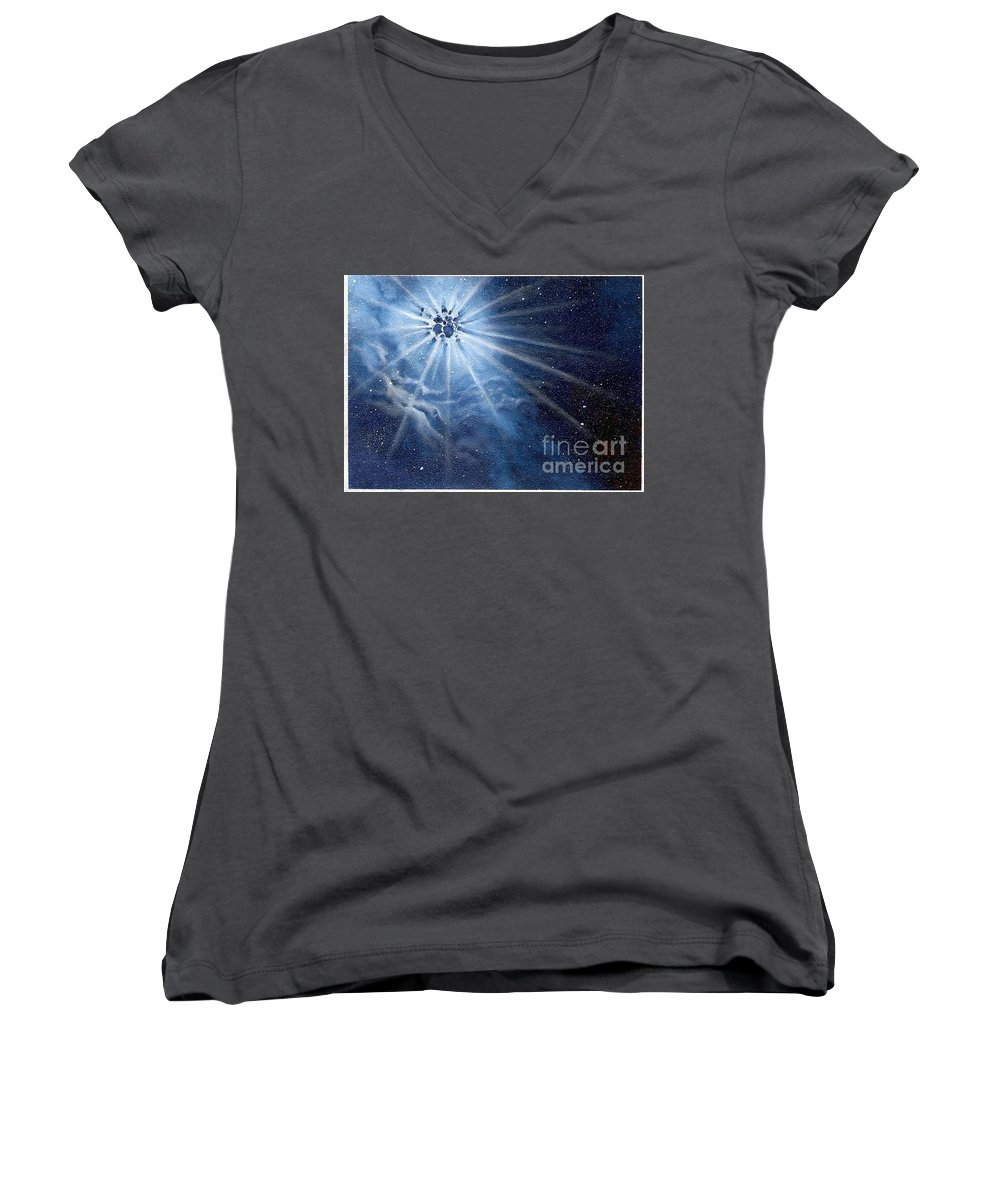 Outerspace Women's V-Neck (Athletic Fit) featuring the painting Burst Of Light by Murphy Elliott