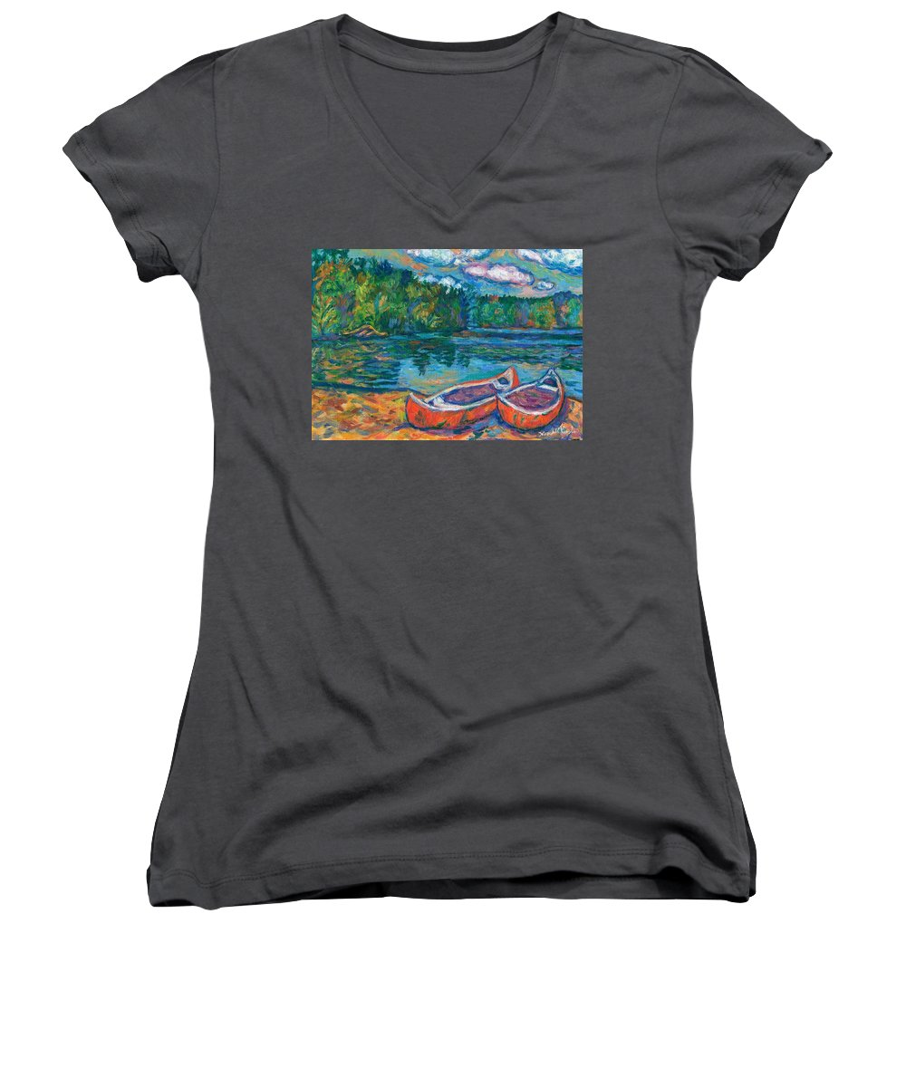 Landscape Women's V-Neck T-Shirt featuring the painting Canoes At Mountain Lake Sketch by Kendall Kessler