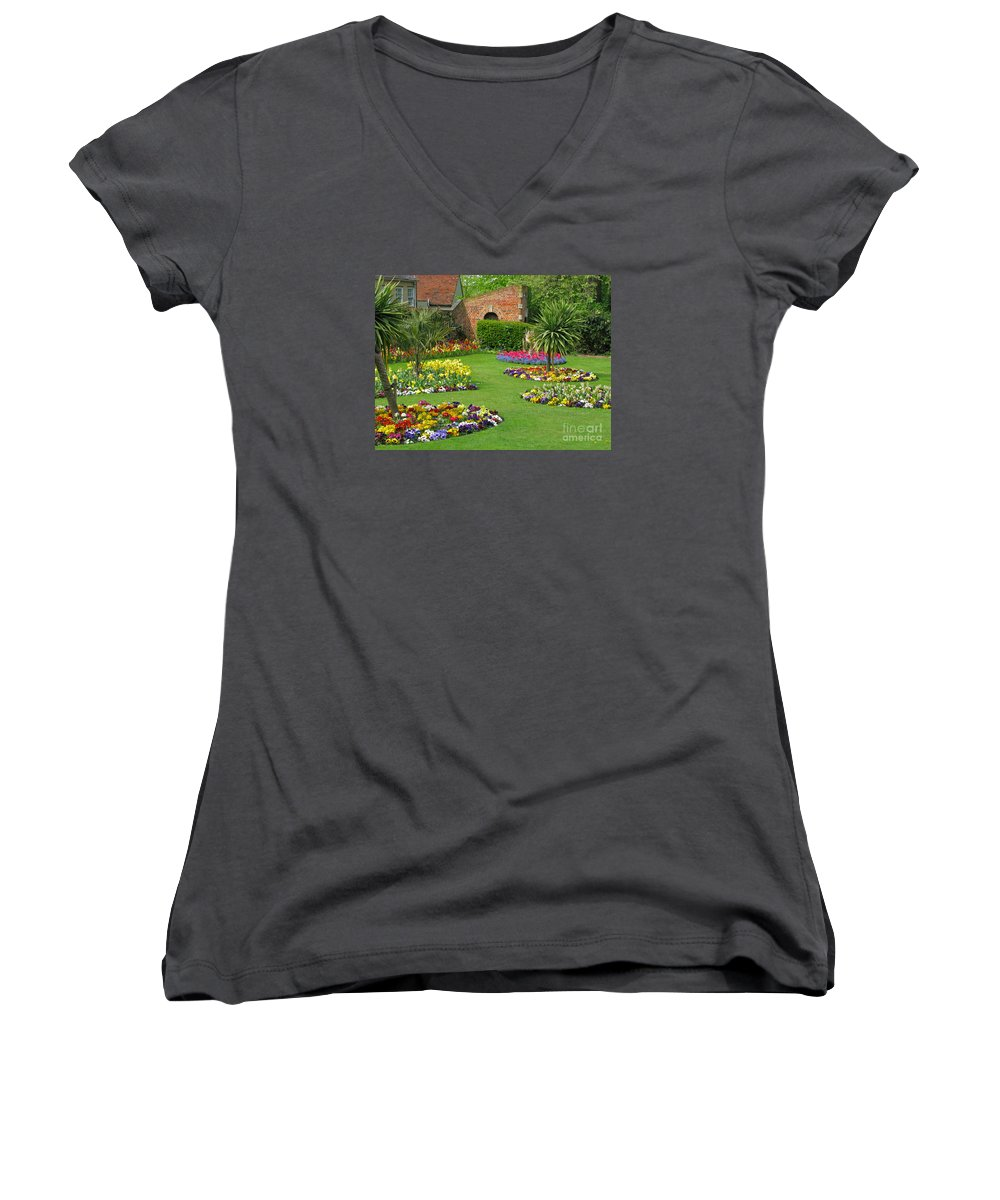 Garden Women's V-Neck (Athletic Fit) featuring the photograph Castle Park Gardens by Ann Horn