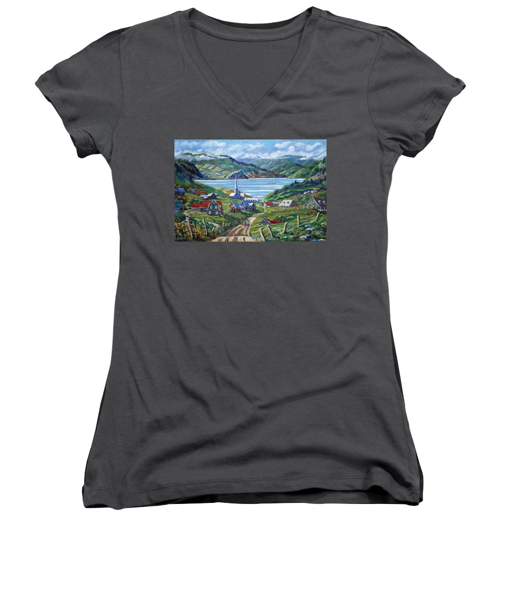 Women's V-Neck T-Shirt featuring the painting Charlevoix Scene by Richard T Pranke