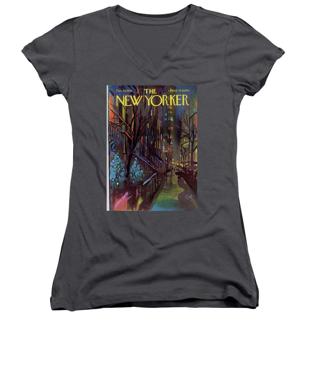 Christmas Xmas Holiday Urban City Manhattan New York City Tree Decoration Decorations Arthur Getz Agt Sumnerok Artkey 49880 Topgetz Women's V-Neck featuring the painting Christmas In New York by Arthur Getz