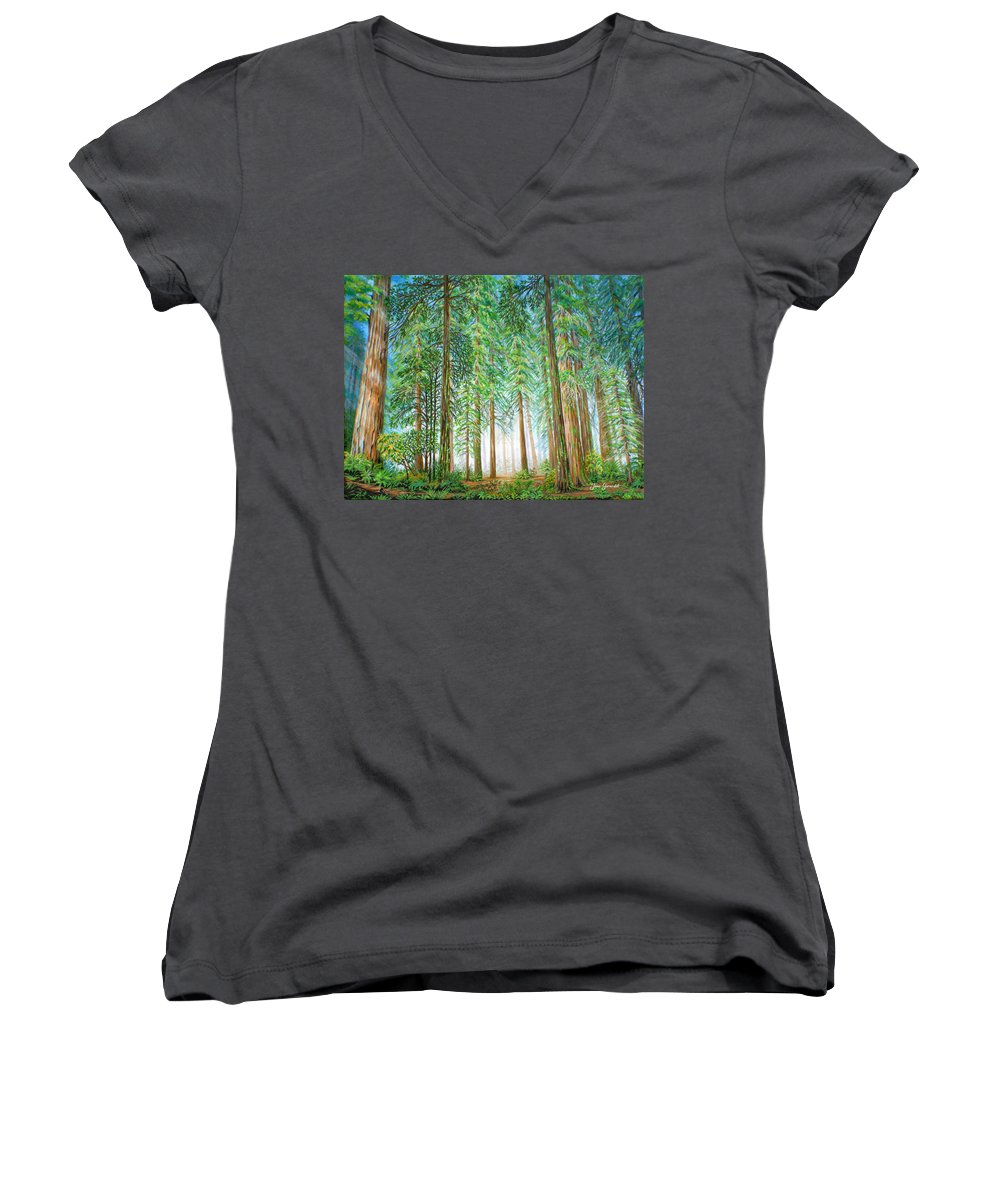 Trees Women's V-Neck (Athletic Fit) featuring the painting Coastal Redwoods by Jane Girardot
