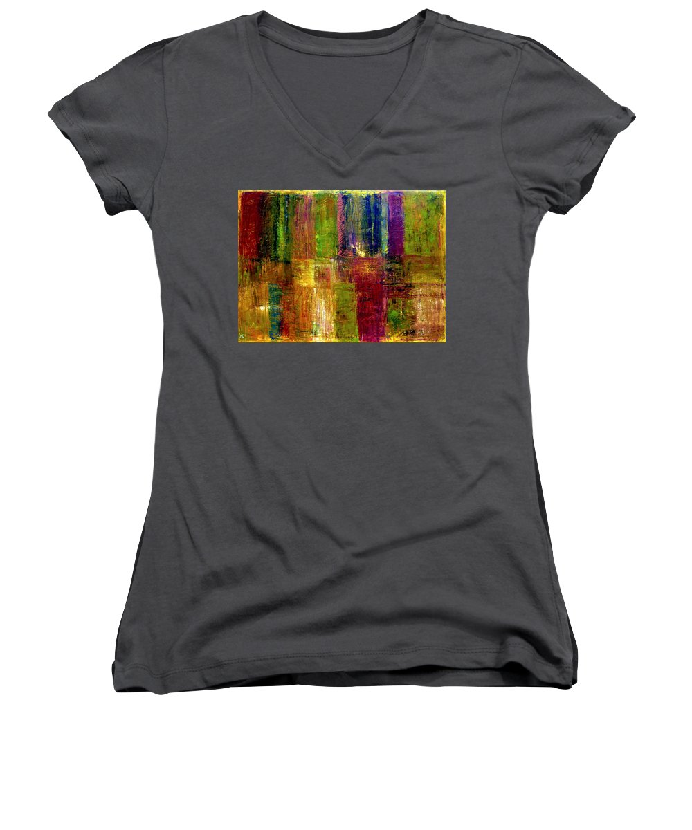 Abstract Women's V-Neck (Athletic Fit) featuring the painting Color Panel Abstract by Michelle Calkins