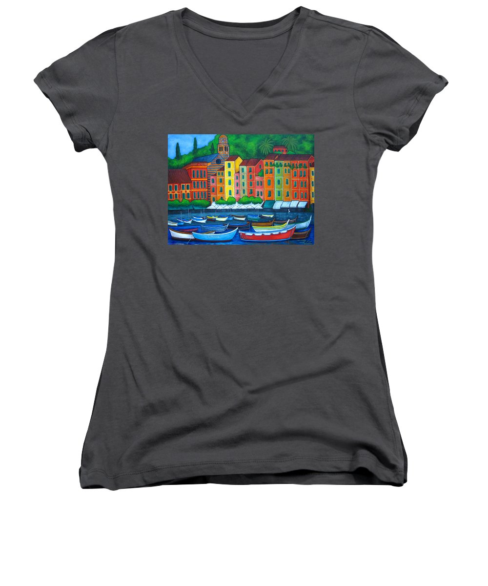 Portofino Women's V-Neck (Athletic Fit) featuring the painting Colours Of Portofino by Lisa Lorenz