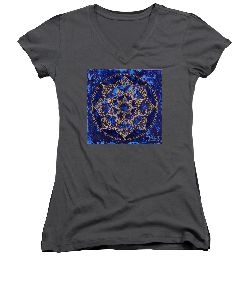 Mandala Women's V-Neck T-Shirt featuring the painting Cosmic Blue Lotus by Charlotte Backman