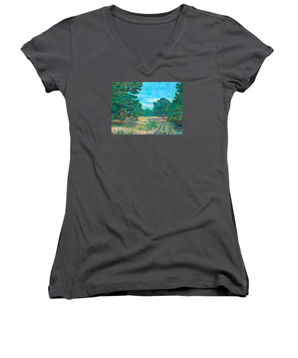 Landscape Women's V-Neck (Athletic Fit) featuring the painting Dirt Road Near Rock Castle Gorge by Kendall Kessler
