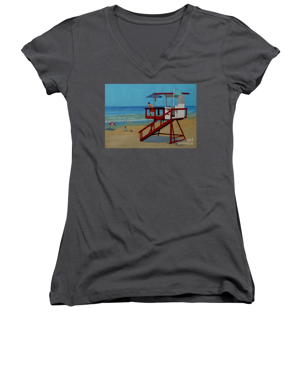 Lifeguard Women's V-Neck T-Shirt featuring the painting Distracted Lifeguard by Anthony Dunphy