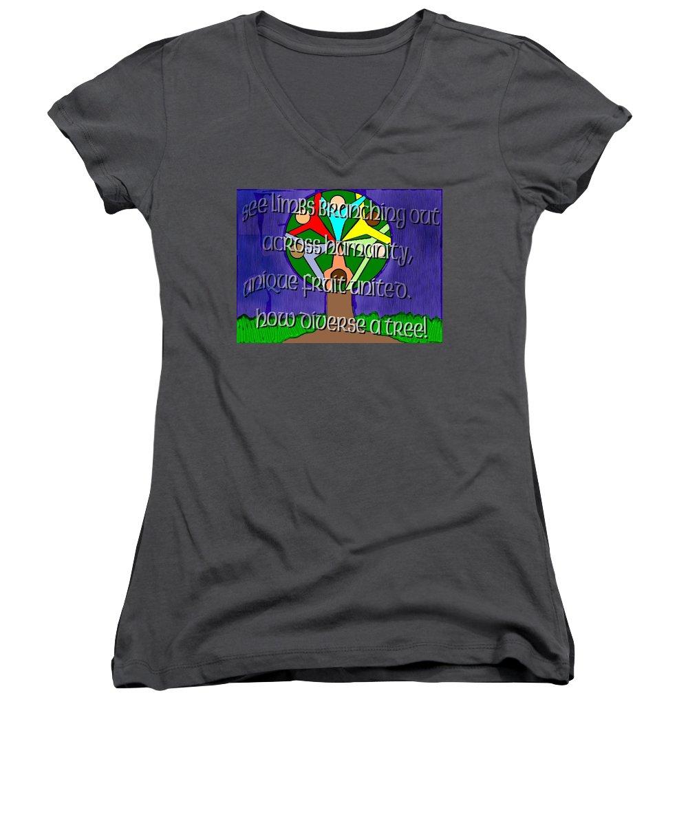 Diversity Women's V-Neck T-Shirt featuring the painting Diversity Tree by Pharris Art
