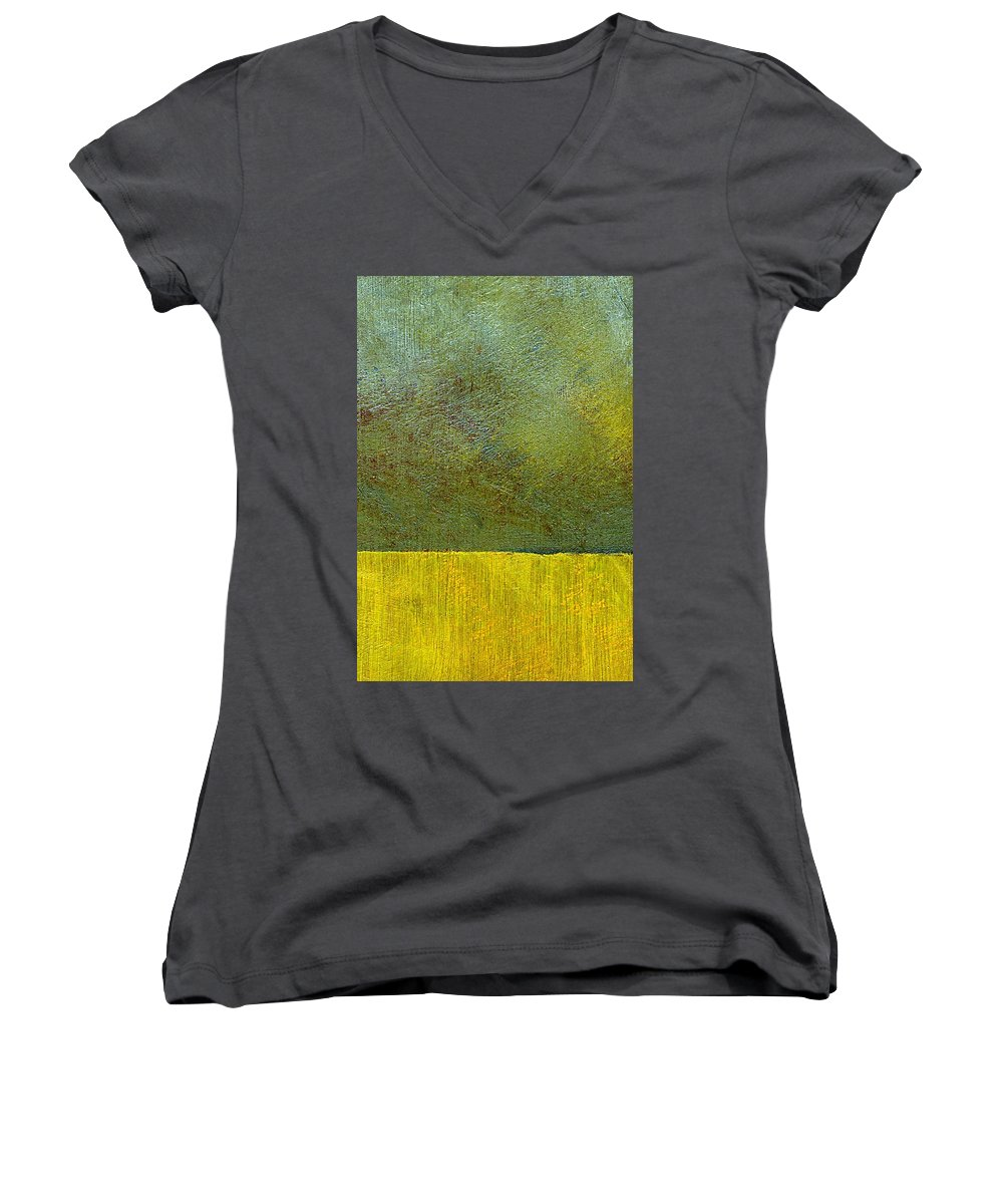 Abstract Landscape Women's V-Neck (Athletic Fit) featuring the painting Earth Study Two by Michelle Calkins