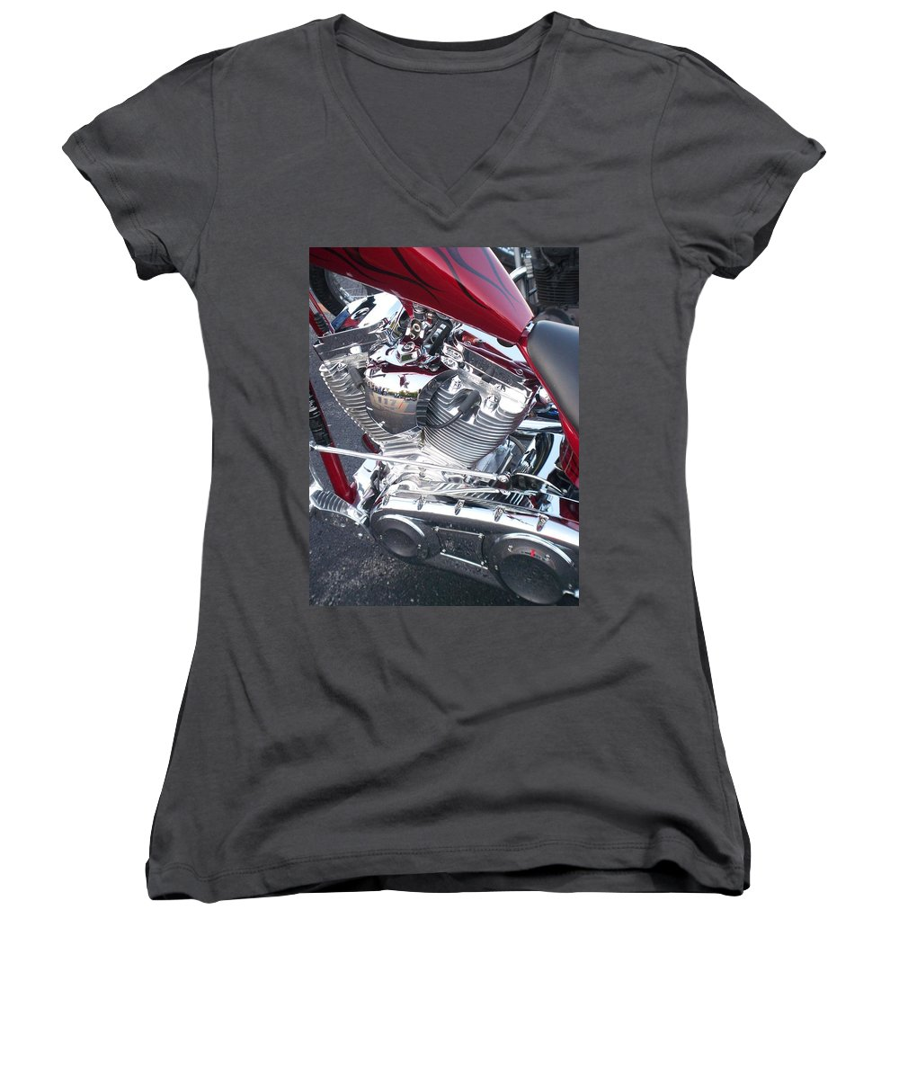 Motorcycles Women's V-Neck T-Shirt featuring the photograph Engine Close-up 4 by Anita Burgermeister